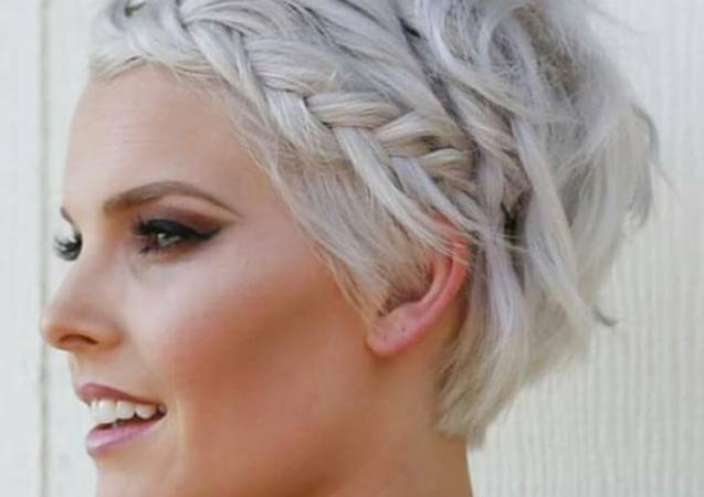 Short platinum with fringe braid