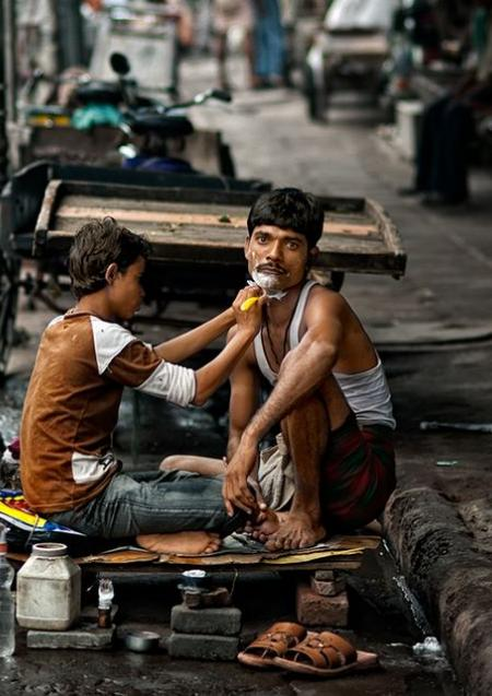 Indian street shave