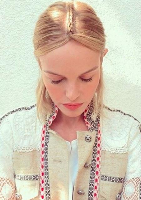 Kate Bosworth. Simple, elegant parting plait.